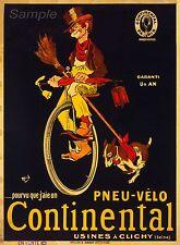 Vintage Continental De Bicicleta De Francés Publicidad A4 cartel impresión