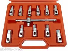 "12pc Drain Plug Key Socket Set Axle Oil Sump Spanner 3/8"" Drive Cars Vans Bikes"