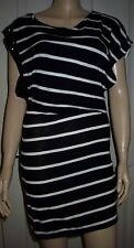 MANGO Black White Striped Sleeveless Beaded Shoulder Holiday Beach Dress Size M