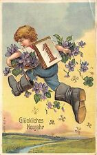 BG8488 boy with flower clover embossed  neujahr new year greetings germany
