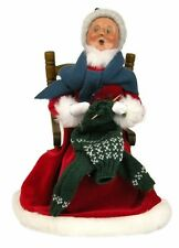 BYERS CHOICE Red Velvet Mrs Claus Knitting a Sweater on her Rocking Chair 2014 *