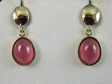 18K Pink Tourmaline Earrings Drop Dangle Yellow Gold Pierced Peach Fine Jewelry