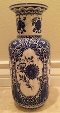 "Vtg ROYAL DELFT Lg 15"" VASE Blue & White Floral Handpainted MADE IN HOLLAND #415"