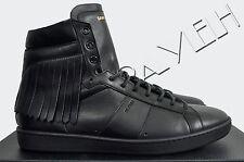 SAINT LAURENT 795$ Signature Black Court SL/18H Fringed Leather Sneakers sz 41 8
