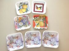 Set of 7 Square Floral Snack Trays ~ Made in Italy ~ Some by Delta Group Designs