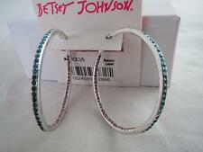 Betsey Johnson silver tone green/blue/pink crystal hoop earrings, NWT