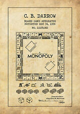 Vintage style MONOPOLY game board patent POSTER A4 High Quality Print Sign