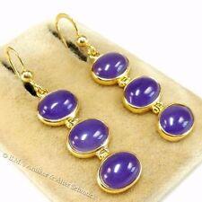 echte 12ct Jade Ohrringe lila Jadeit 585 Gold Gelbgold auf 925 Silber Ohrhänger
