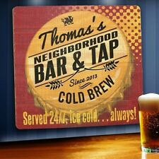 Personalized Beer Served 24/7 Custom Wood Bar Sign Home Bar Pub Man Cave Decor