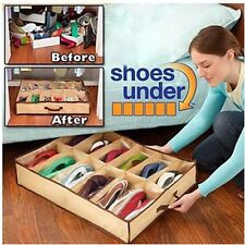 Shoes Box 12 Pocket Under Bed Foldable Shoe Container Storage Organizer Holder