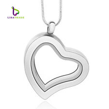 30mm Alloy Silver Glass Floating Heart Charm Memory Locket include Free Chain
