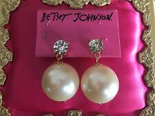 Betsey Johnson Vintage HUGE Pearl Rose Gold Copper Crystal Earrings VERY RARE