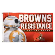 CLEVELAND BROWNS STAR WARS BB-8 COWBOYS RESISTANCE 3'X5' DELUXE FLAG NEW