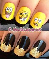NAIL ART SET 64 SPONGEBOB SQUAREPANTS FACES WATER TRANSFERS/STICKERS & GOLD LEAF