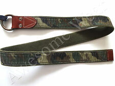 New Ralph Lauren Polo Leather Trim Camo Green Canvas O Ring Belt size L