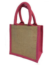 Jute Bags (5x pink) 20 x 20 x 10cm (S1) Hessian Shopping Crafting Gift Bag