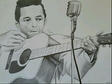Johnny Cash, Original Drawing by Kate Cloud, Framed