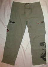 men's JUICY COUTURE green loose cargo STAY RUDE FRENCH REVOLUTION print pants 30