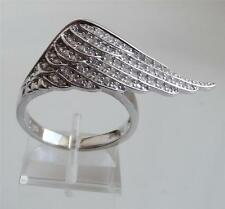 DIAMONIQUE by ANDREA McLEAN 0.7ct STERL SILVER WING RING UK- O; US- 7.5 NEW QVC