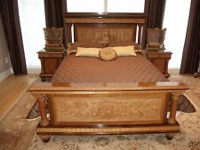 Exquisite Vintage Italian Bedroom Suite w/Cherub Carvings and Marble Tops