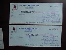 Lot of 2 Vintage 1969 Atlanta Braves Cancelled Checks
