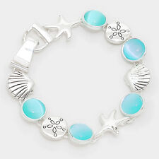 Starfish Bracelet Chain Link Magnetic Closure Clasp Shell Sand Dollar SILVER TUR
