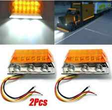 2X 15-LED Side Marker Light Clearance Lamps Amber Truck Trailer Bus Lorry Boat