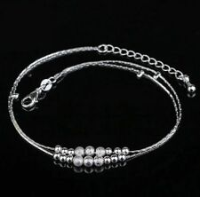 NEW 925 Sterling Silver Beaded Ankle Anklet Chain Bracelet Foot Jewelry UK
