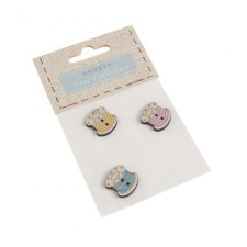 3 x Sewing Spool Thread Bobbins Wooden Craft Buttons 20mm