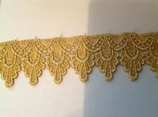 NEW GOLD METALLIC 1 3/4   FALLING PEDAL DESIGN VENISE LACE  tri