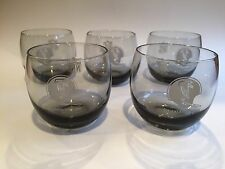 Set 5 Vintage 1970's NFL Atlanta Falcons Roly Poly Smoked Glass Low Ball Tumbler
