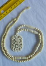 Vintage 19th Century Chinese Symbol Carved Bovine Bone Bead Pendant Necklace