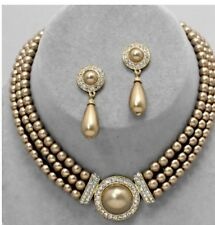Chocolate Brown Bib Pearl Crystal Multi Layered Bridal Necklace Set Earring