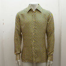 NEW Mens Prada Yellow Silk Shirt with Blue Spots GENUINE RRP: £275 BNWT- Size 43