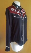 ISABEL MARANT BLACK EMBROIDERED WESTERN BUTTON DOWN SHIRT BLOUSE TOP SIZE S 42
