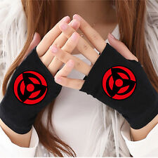 Anime Naruto Akatsuki Sharingan Cosplay Cotton Knitted Gloves Fingerless Mittens