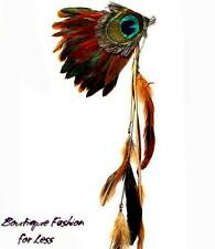 Peacock Feather Fascinator Hair Clip Barrette Chain & Feather Extension BOHO 22""