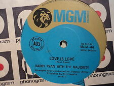"Barry Ryan with the Majority ""Love Is Love"" Rare Oz 7"""
