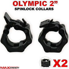 "Olympic 2"" Spinlock Collars Barbell Dumbell Clips Clamp Weight Bar Locks Pair"