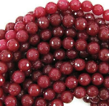 10mm Natural Faceted Brazil Red Ruby Gemstone Round Loose Beads 15""