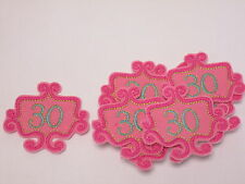 10 x Embroidered 30th Birthday Silver Bead Scrap Book Card Making Motif #12E30