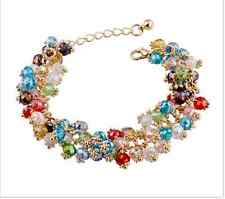 Gold plated Crystal beaded retro chain Charm Bracelet multi-colored statement