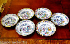 Set Of 6 Antique Ashworth Brothers Chinese Pattern Rimmed Soup Bowls