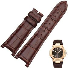 Brown Leather Strap Band fit for PP Patek Philippe Watch Nautilus 25mm x 12mm