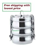 Silver Stainless Steel Lunch Box 3 Tier Container Indian Tiffin with free ship