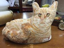 Vintage Needlepoint cat pillow  Cat Shaped Tapestry Pillow