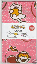 Neko Atsume Cat Tenugui Hand Towel Ver.2 (Pink) JAPAN Hit-Point