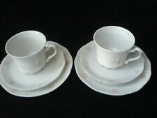 ROYAL BAVARIAN PORCELAIN BAVARIA GERMANY Grey / Pink  Cup/Saucer/Plate Set x 2