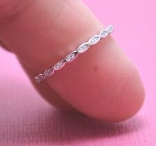 THIN STACKING ETERNITY BAND CUBIC ZIRCONA Genuine Sterling Silver.925 Size 6