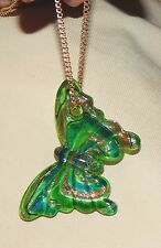 Lovely Etched Green Lampwork Glass Butterfly with Goldtone Speckles Necklace